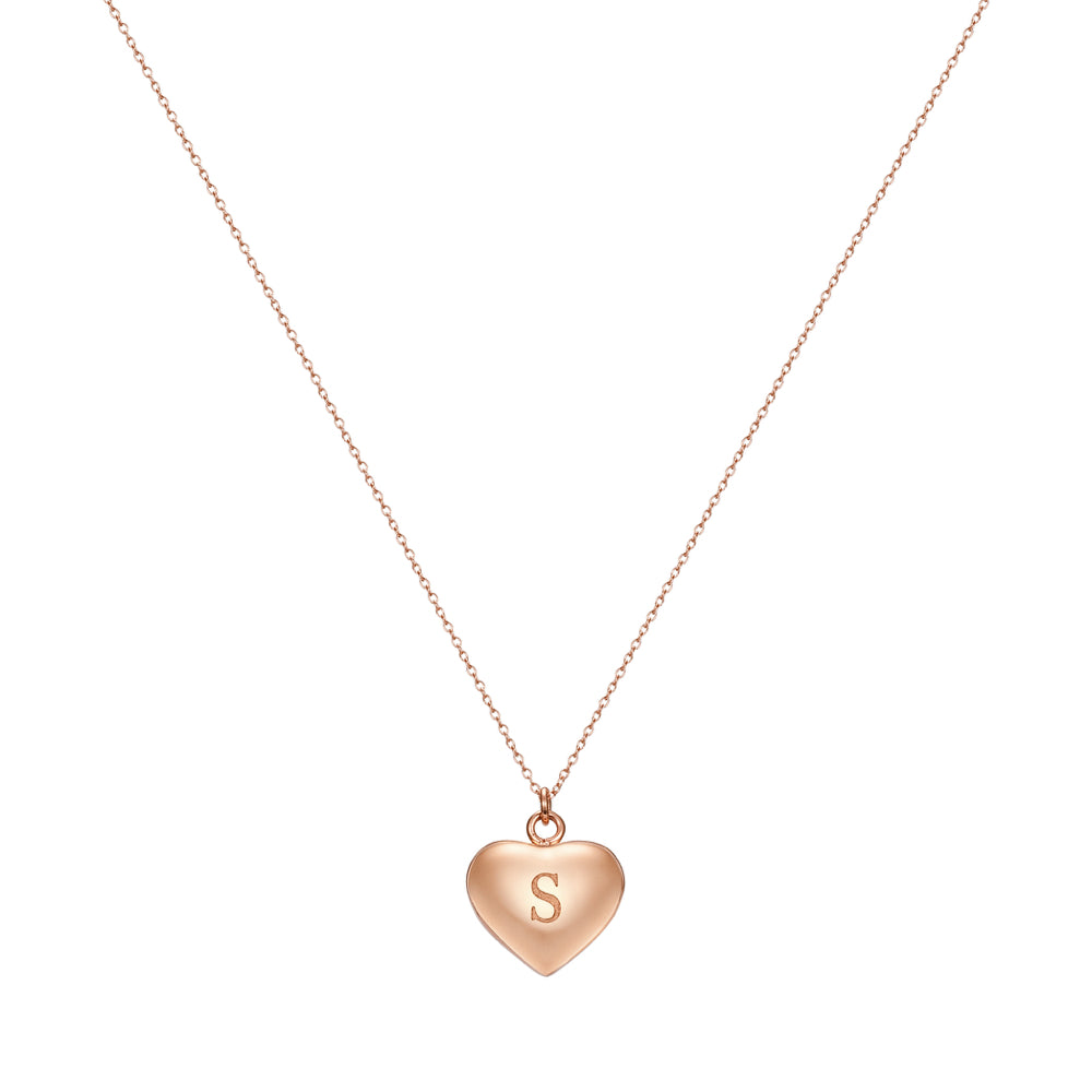 Taylor and Vine Love Letter S Heart Pendant Rose Gold Necklace Engraved I Love You 1