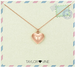 Taylor and Vine Love Letter T Heart Pendant Rose Gold Necklace Engraved I Love You