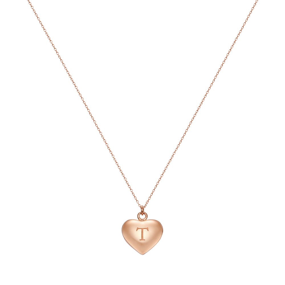 Taylor and Vine Love Letter T Heart Pendant Rose Gold Necklace Engraved I Love You 1