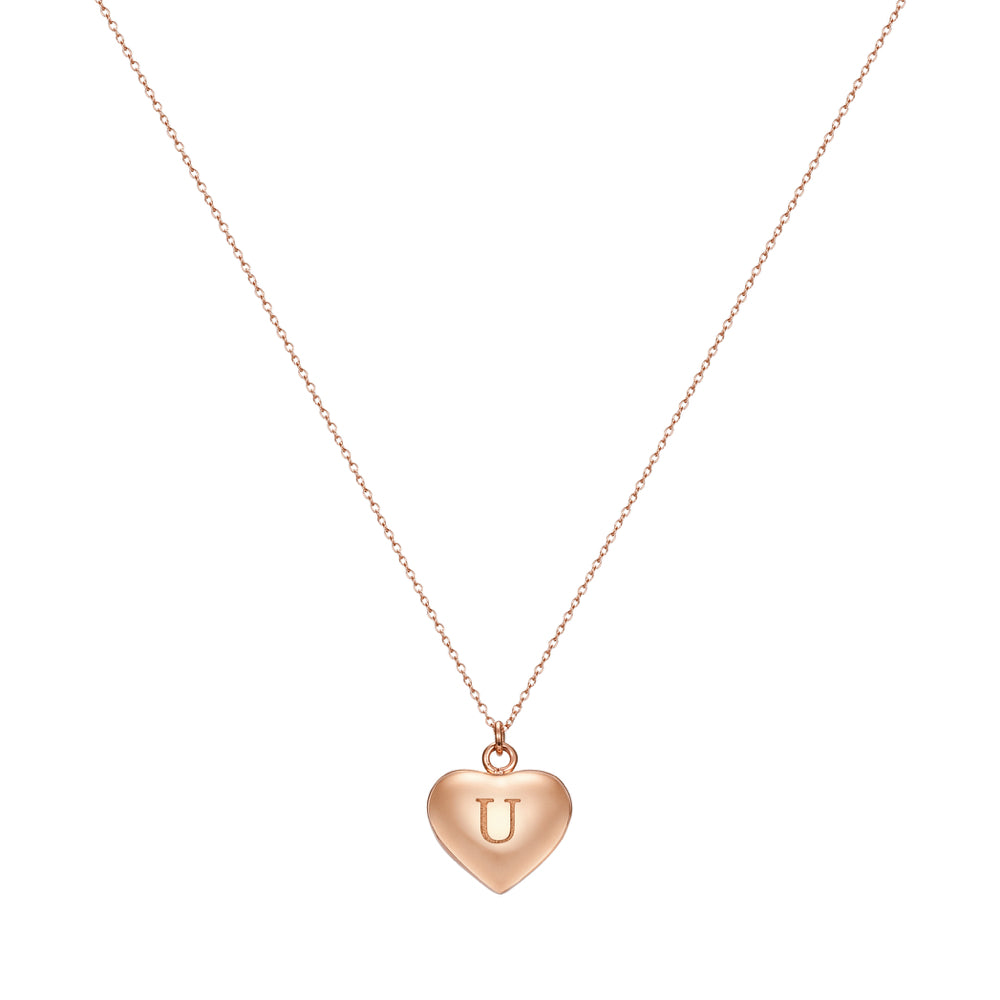 Taylor and Vine Love Letter U Heart Pendant Rose Gold Necklace Engraved I Love You 1