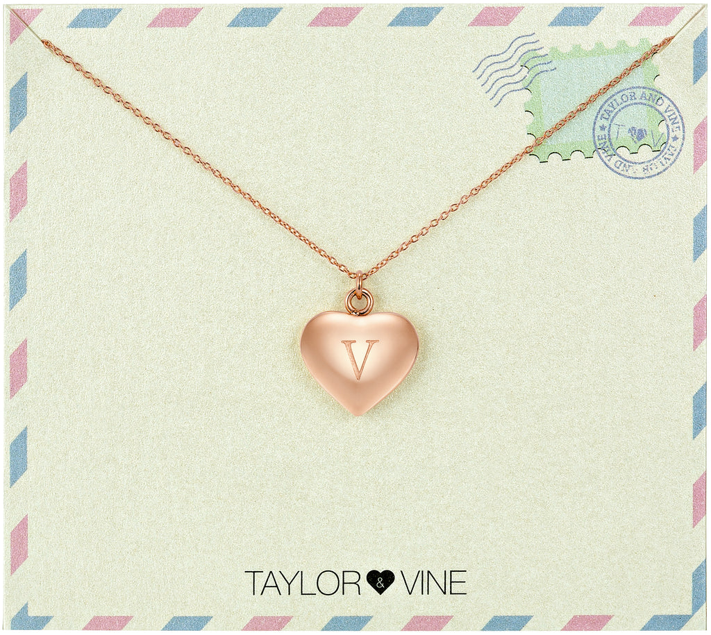 Taylor and Vine Love Letter V Heart Pendant Rose Gold Necklace Engraved I Love You