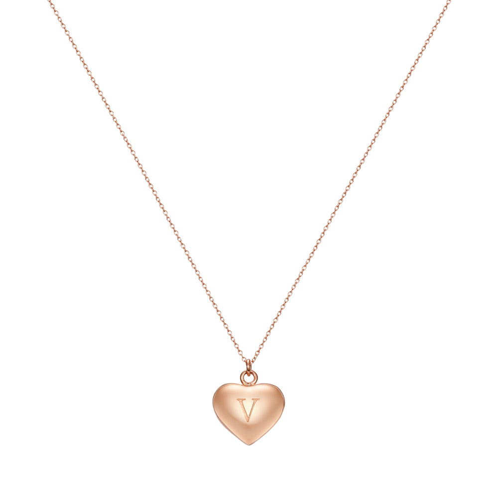 Taylor and Vine Love Letter V Heart Pendant Rose Gold Necklace Engraved I Love You 1
