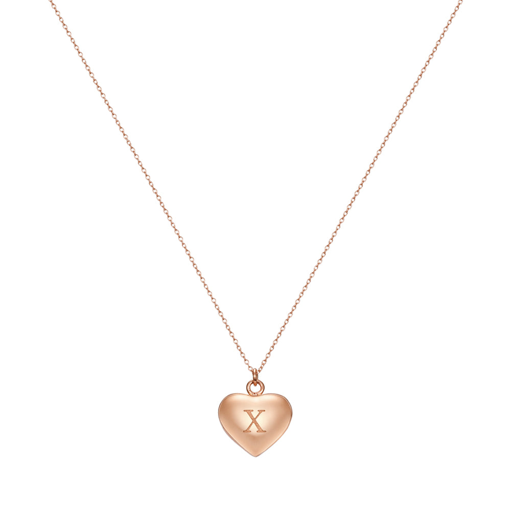 Taylor and Vine Love Letter X Heart Pendant Rose Gold Necklace Engraved I Love You