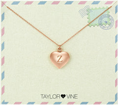 Taylor and Vine Love Letter Z Heart Pendant Rose Gold Necklace Engraved I Love You