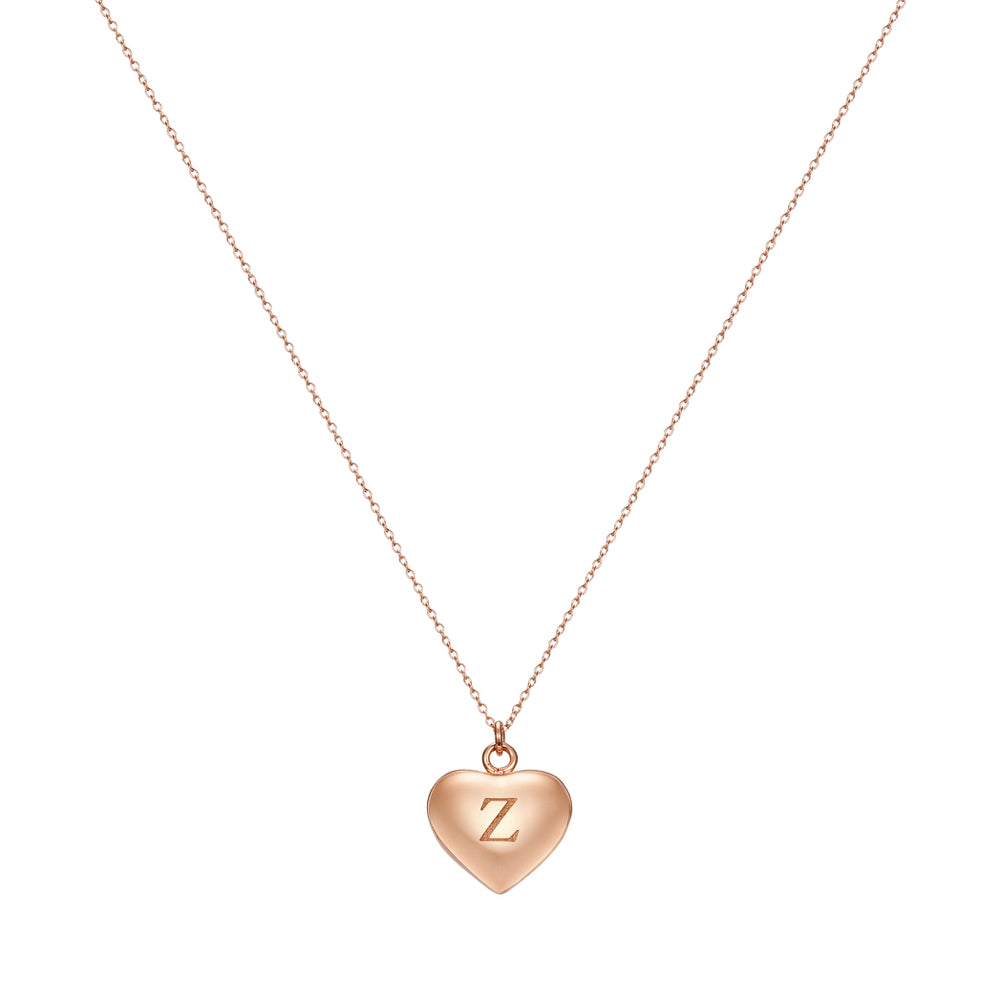 Taylor and Vine Love Letter Z Heart Pendant Rose Gold Necklace Engraved I Love You 1