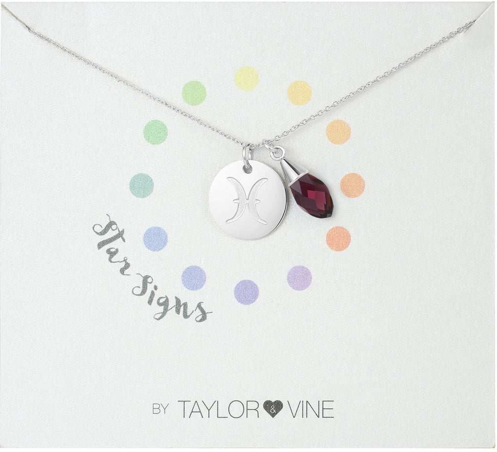 Taylor and Vine Star Signs Pisces Silver Necklace with Birth Stone