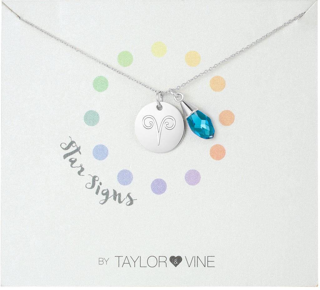Taylor and Vine Star Signs Aries Silver Necklace with Birth Stone