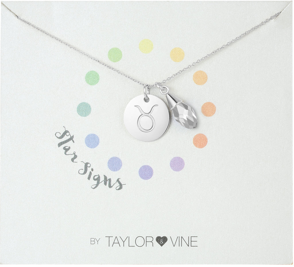 Taylor and Vine Star Signs Taurus Silver Necklace with Birth Stone