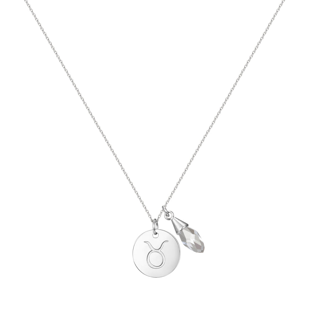 Taylor and Vine Star Signs Taurus Silver Necklace with Birth Stone 1