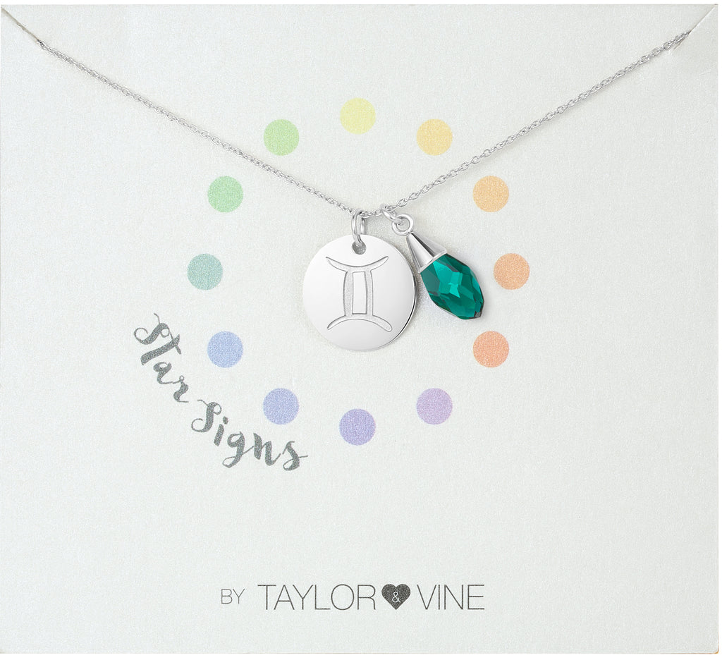 Taylor and Vine Star Signs Gemini Silver Necklace with Birth Stone