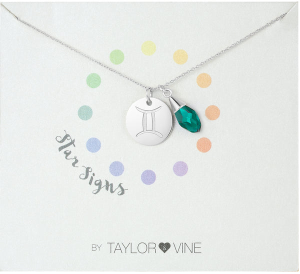 Star Signs Gemini Horoscope Necklace with CZ Emerald Birth Stone