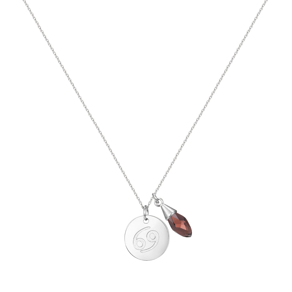Taylor and Vine Star Signs Cancer Silver Necklace with Birth Stone 1