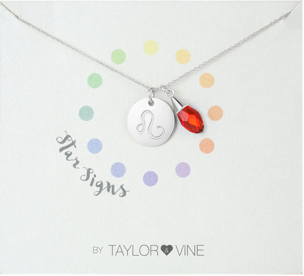 Star Signs Leo Horoscope Necklace with CZ Ruby Birth Stone