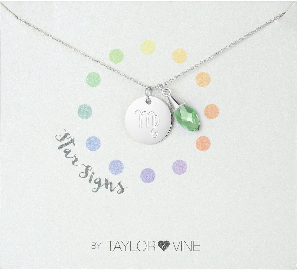 Taylor and Vine Star Signs Virgo Silver Necklace with Birth Stone