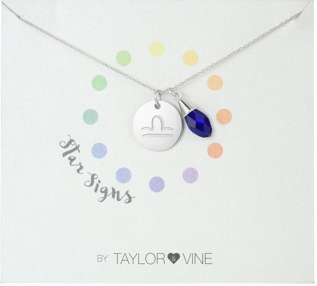 Taylor and Vine Star Signs Libra Silver Necklace with Birth Stone