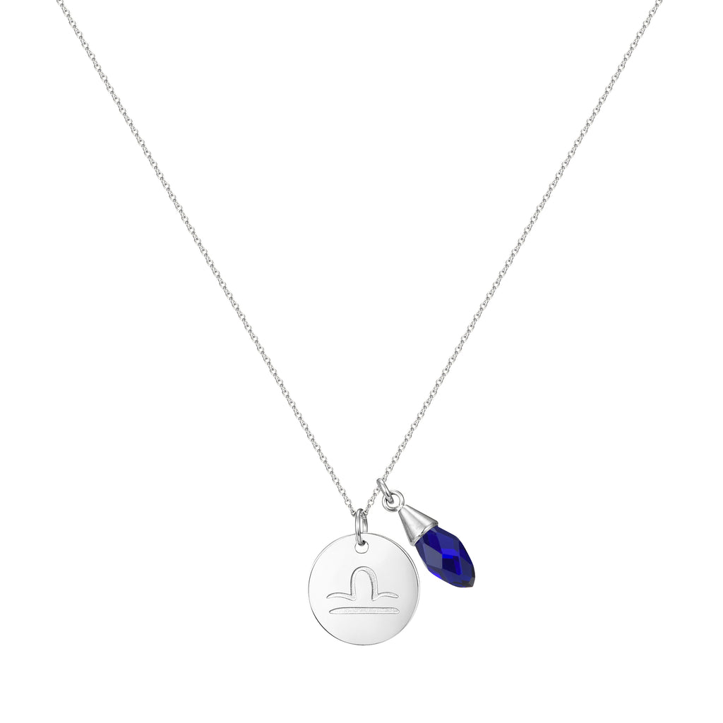 Taylor and Vine Star Signs Libra Silver Necklace with Birth Stone 1