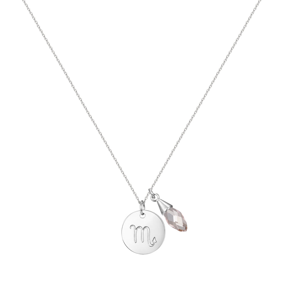 Taylor and Vine Star Signs Scorpio Silver Necklace with Birth Stone 1