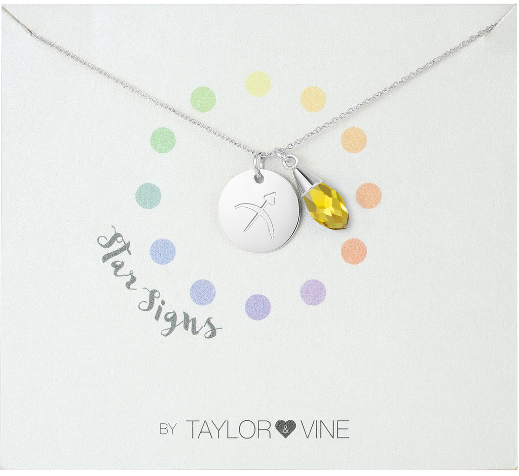 Taylor and Vine Star Signs Sagittarius Silver Necklace with Birth Stone