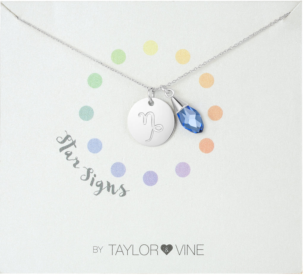 Taylor and Vine Star Signs Capricorn Silver Necklace with Birth Stone