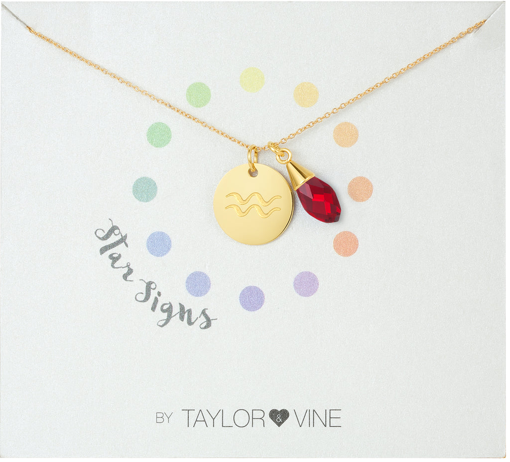 Taylor and Vine Star Signs Aquarius Gold Necklace with Birth Stone