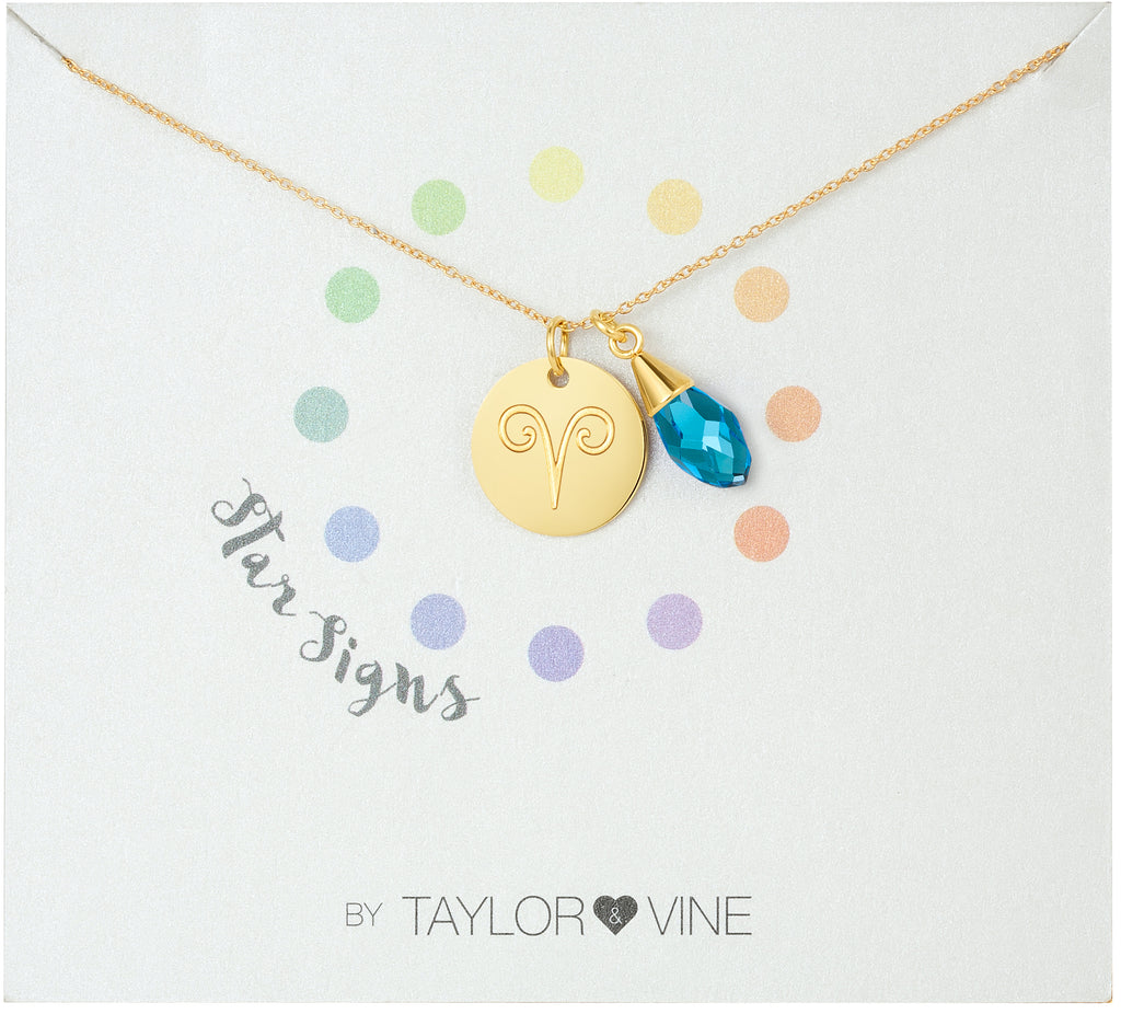 Taylor and Vine Star Signs Aries Gold Necklace with Birth Stone