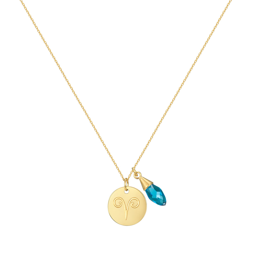 Taylor and Vine Star Signs Aries Gold Necklace with Birth Stone 1