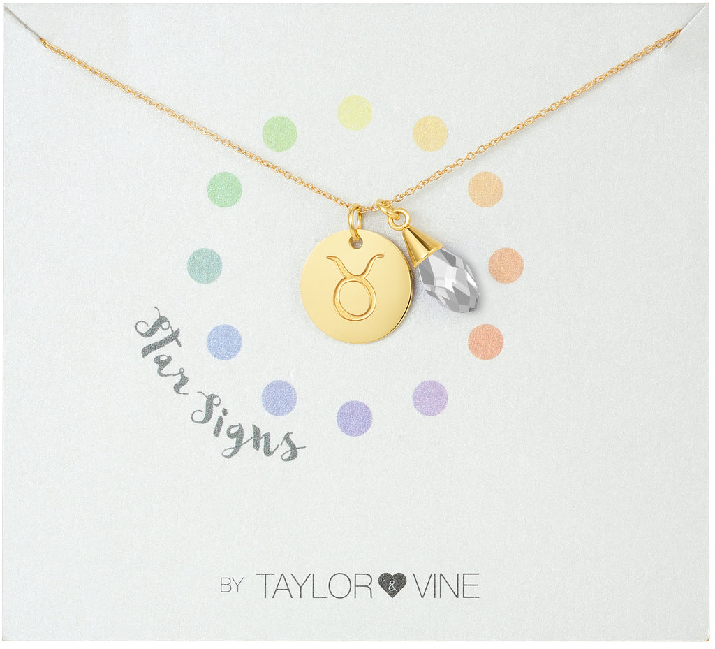 Taylor and Vine Star Signs Taurus Gold Necklace with Birth Stone