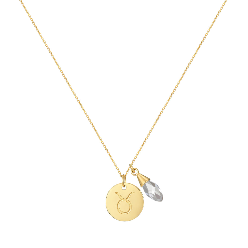 Taylor and Vine Star Signs Taurus Gold Necklace with Birth Stone 1