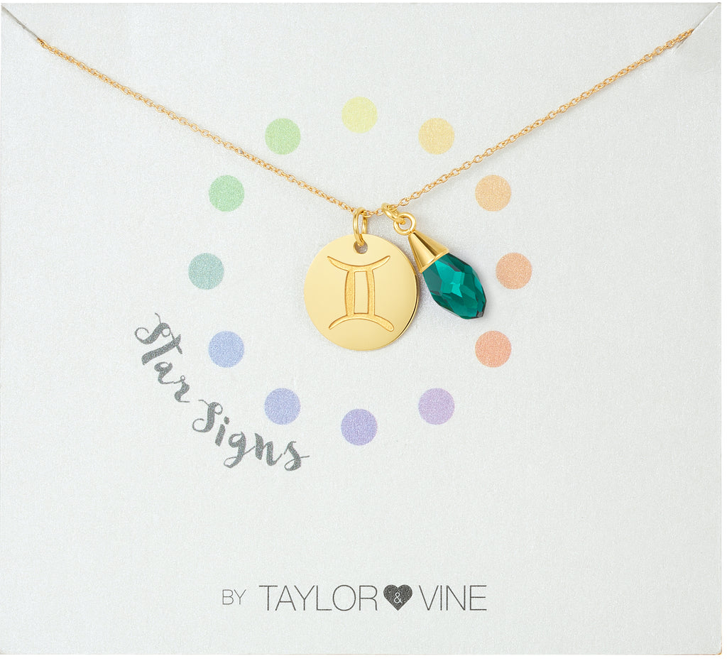 Taylor and Vine Star Signs Gemini Gold Necklace with Birth Stone 1