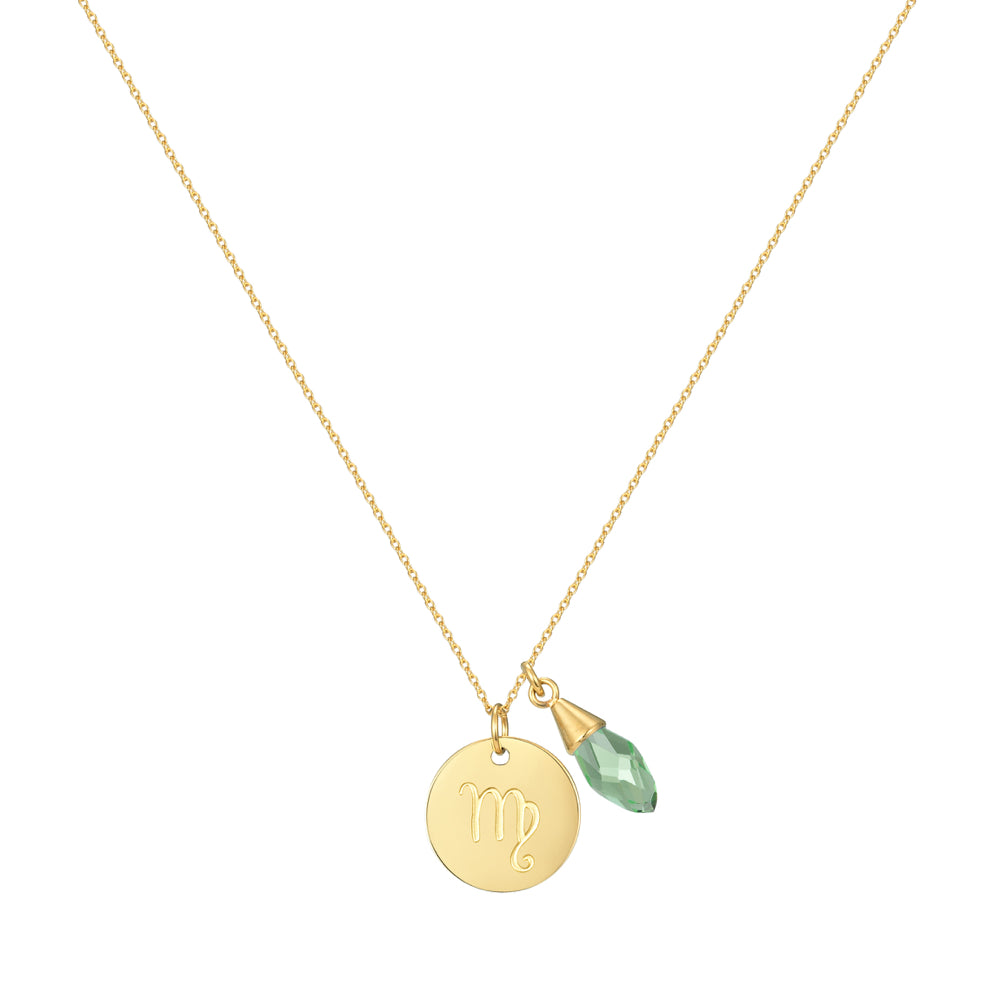 Taylor and Vine Star Signs Virgo Gold Necklace with Birth Stone 1