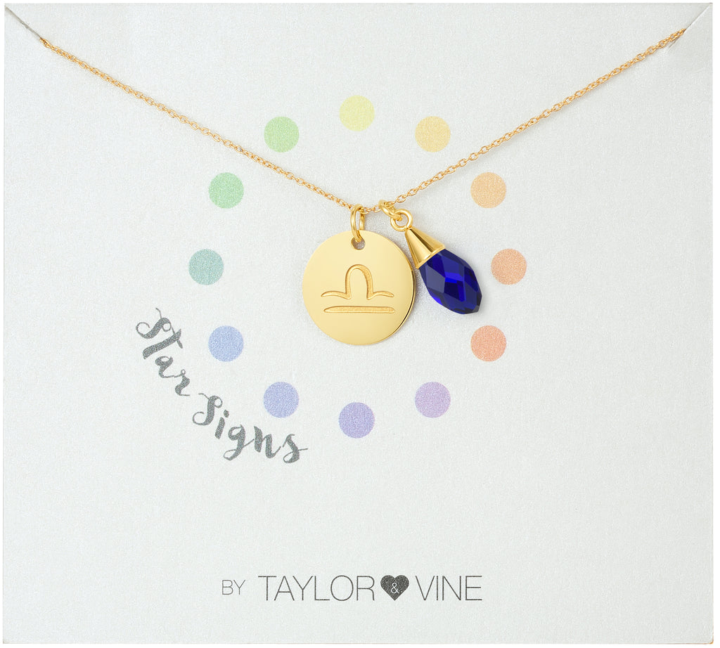 Taylor and Vine Star Signs Libra Gold Necklace with Birth Stone