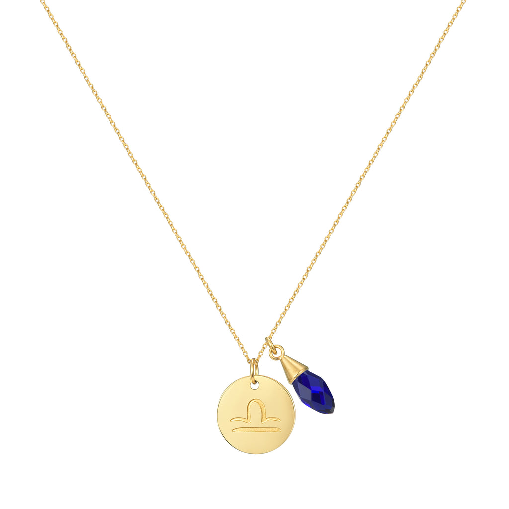 Taylor and Vine Star Signs Libra Gold Necklace with Birth Stone 1