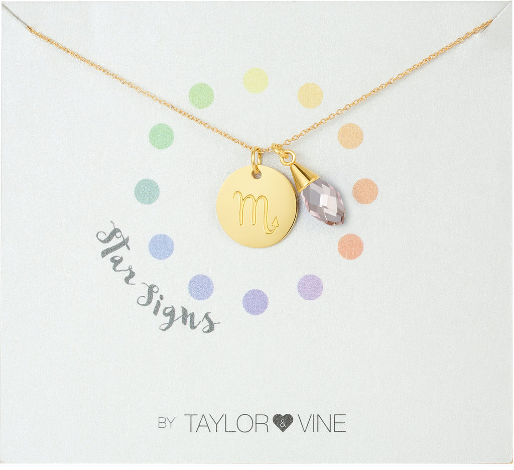 Taylor and Vine Star Signs Scorpio Gold Necklace with Birth Stone