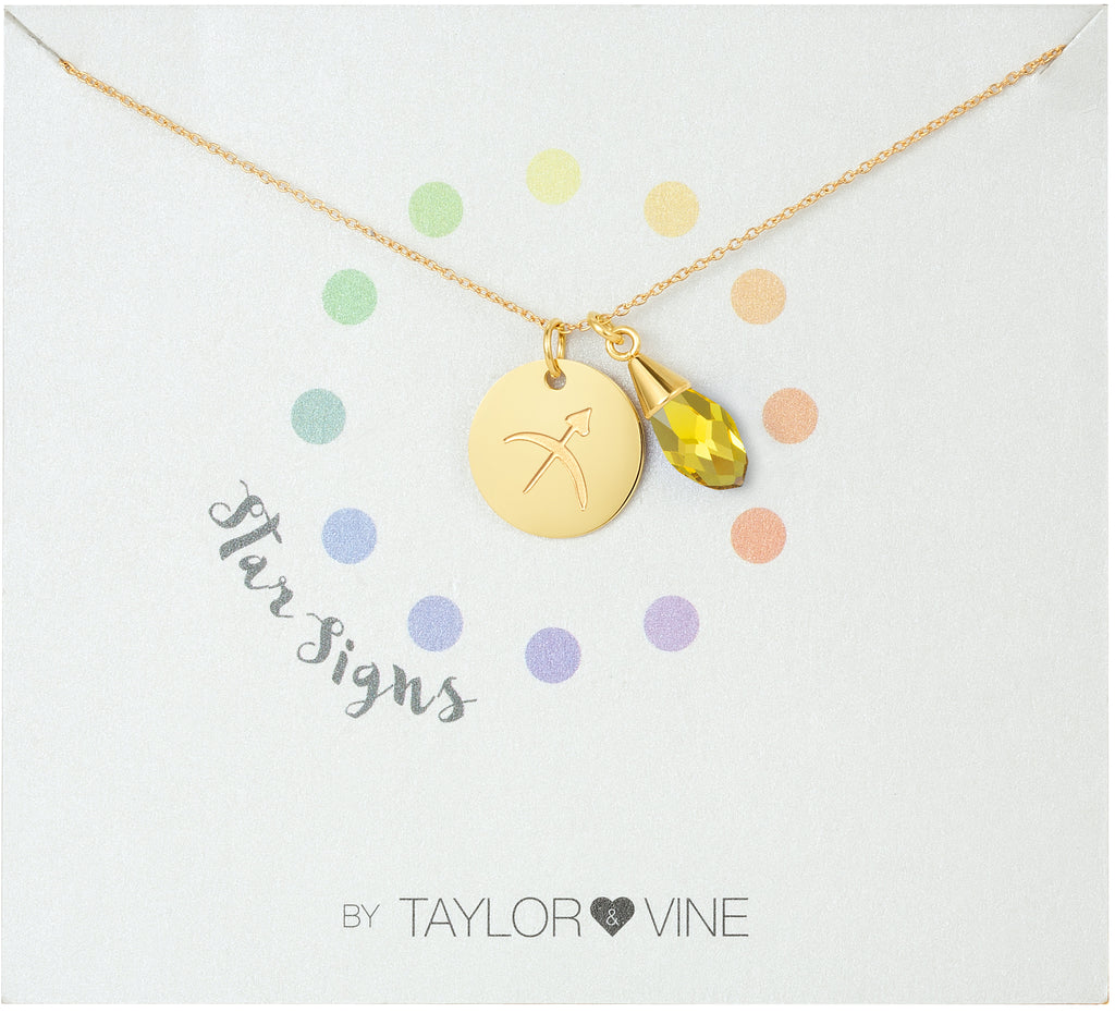 Taylor and Vine Star Signs Sagittarius Gold Necklace with Birth Stone