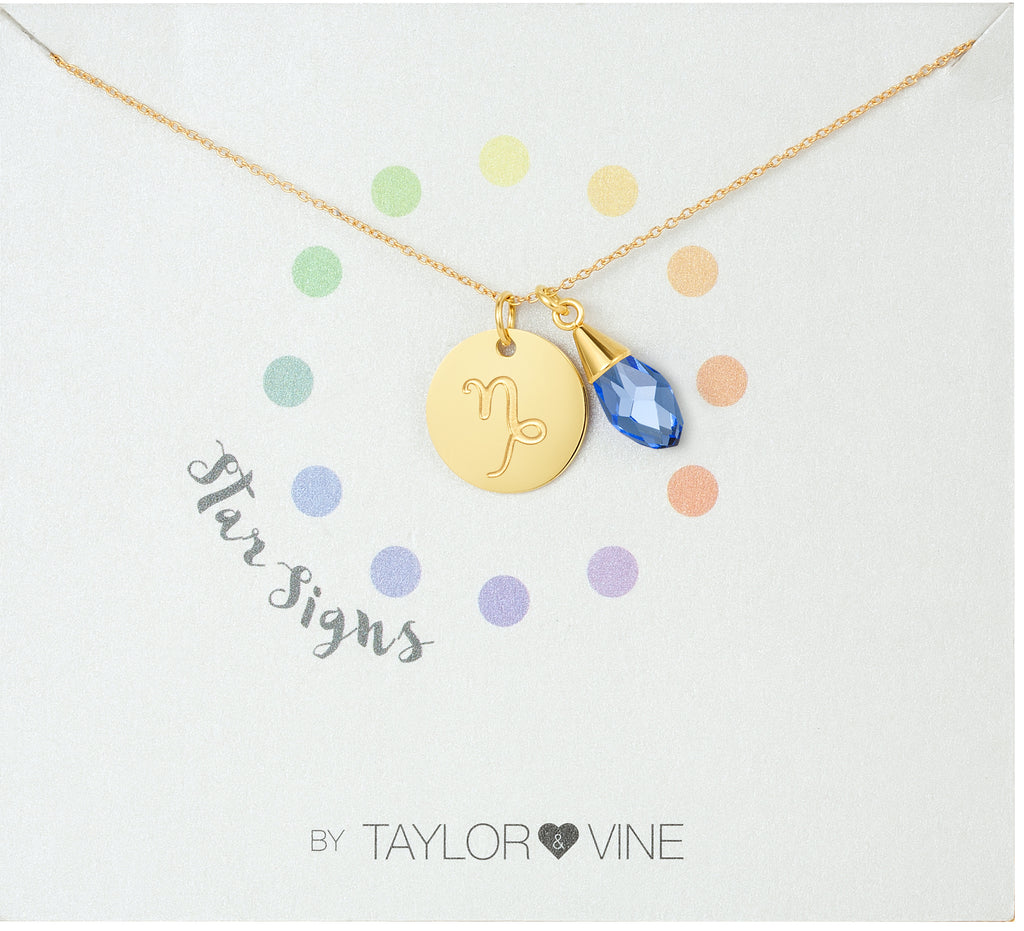 Taylor and Vine Star Signs Capricorn Gold Necklace with Birth Stone