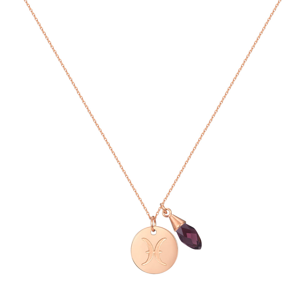 Taylor and Vine Star Signs Pisces Rose Gold Necklace with Birth Stone 1