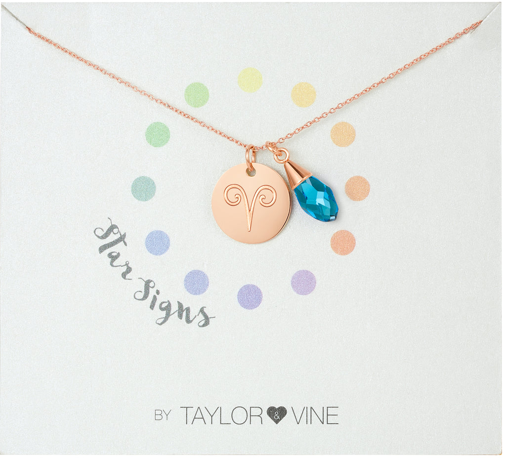 Taylor and Vine Star Signs Aries Rose Gold Necklace with Birth Stone