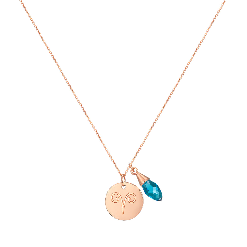 Taylor and Vine Star Signs Aries Rose Gold Necklace with Birth Stone 1