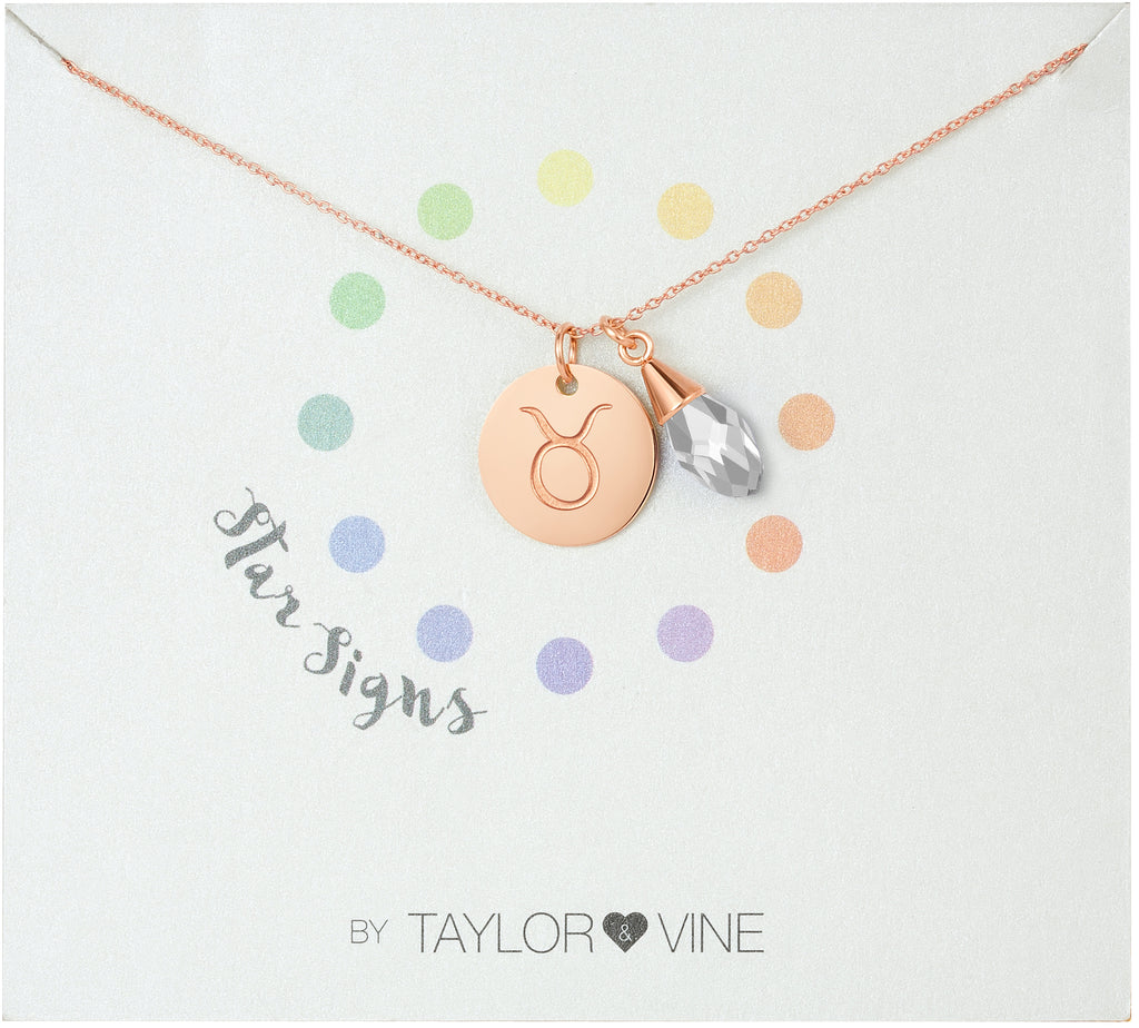 Taylor and Vine Star Signs Taurus Rose Gold Necklace with Birth Stone