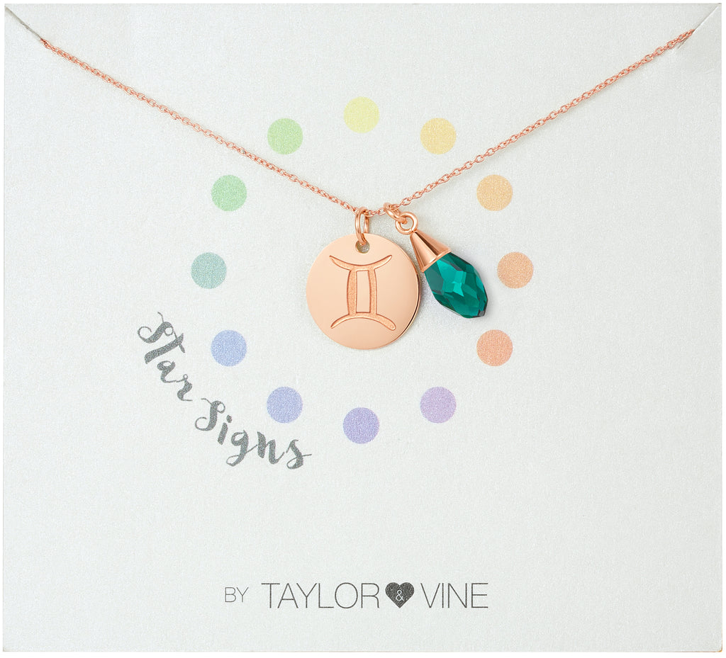 Taylor and Vine Star Signs Gemini Rose Gold Necklace with Birth Stone