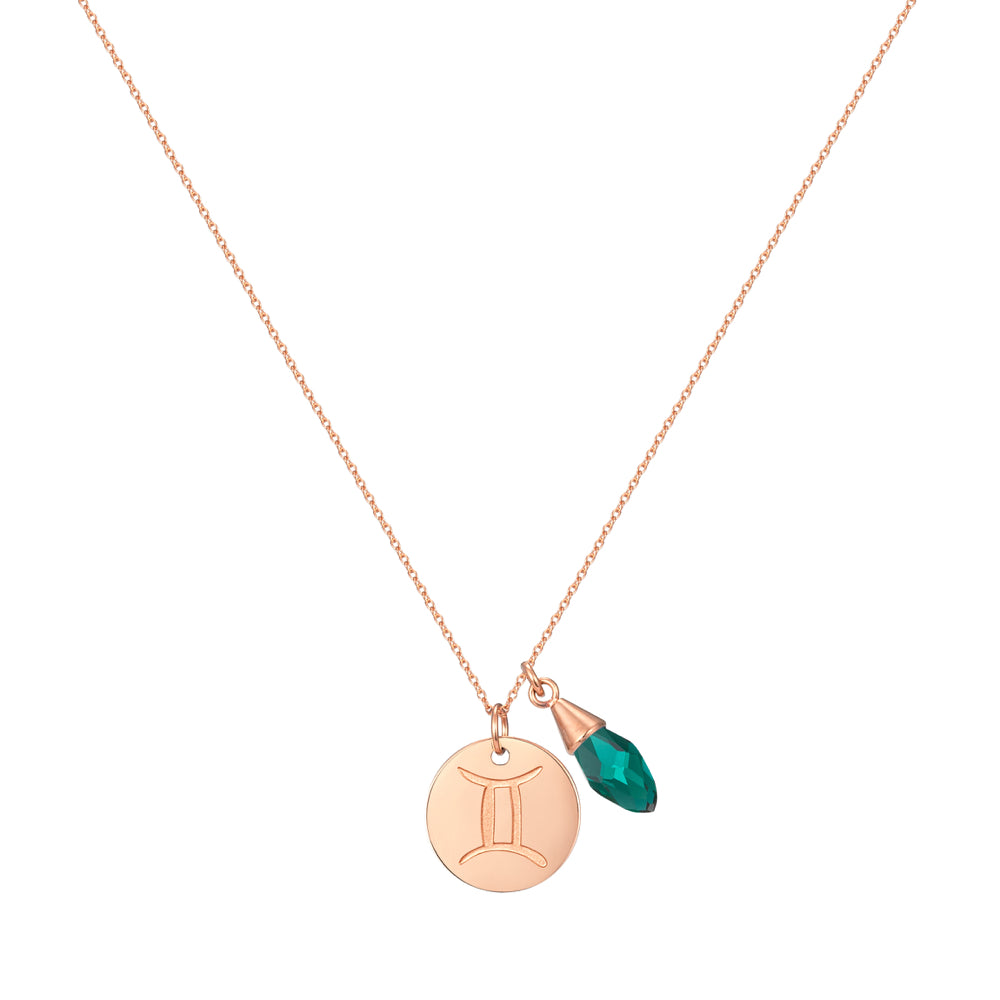 Taylor and Vine Star Signs Gemini Rose Gold Necklace with Birth Stone 1