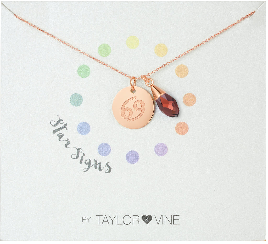 Taylor and Vine Star Signs Cancer Rose Gold Necklace with Birth Stone