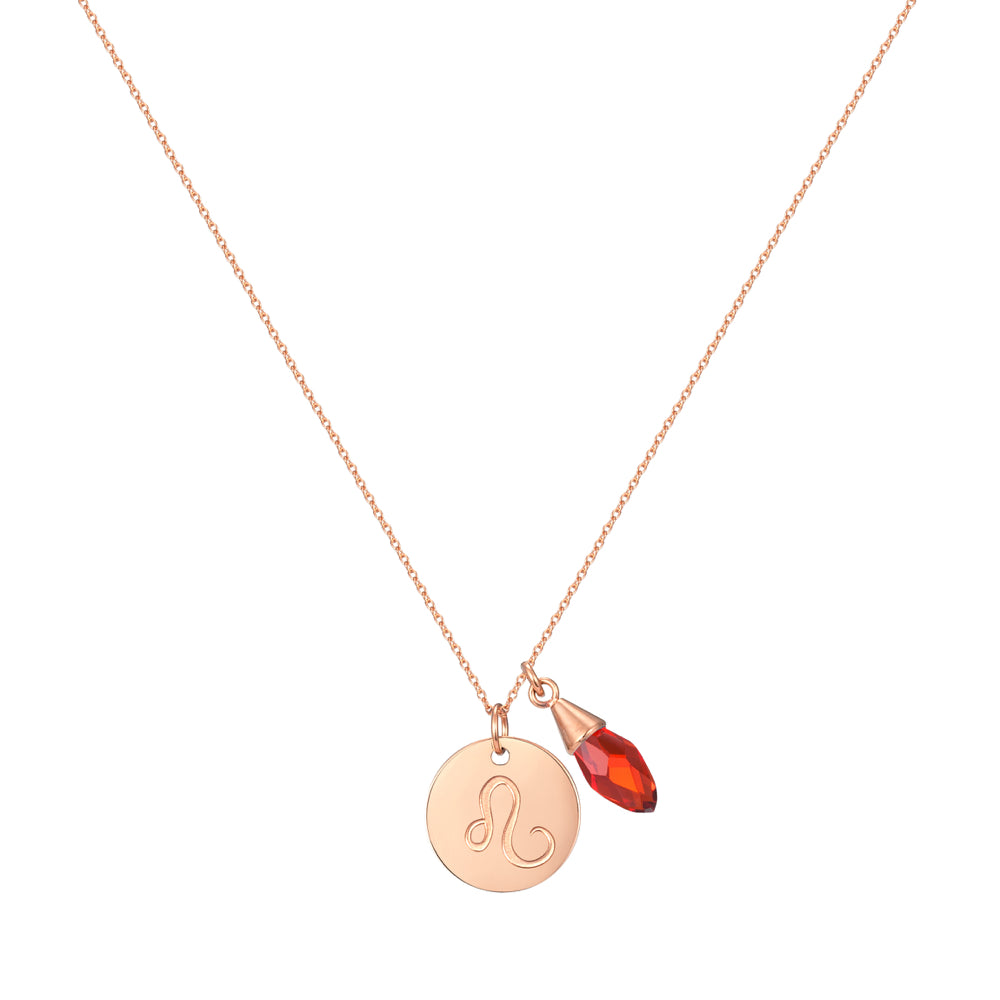 Taylor and Vine Star Signs Leo Rose Gold Necklace with Birth Stone 1