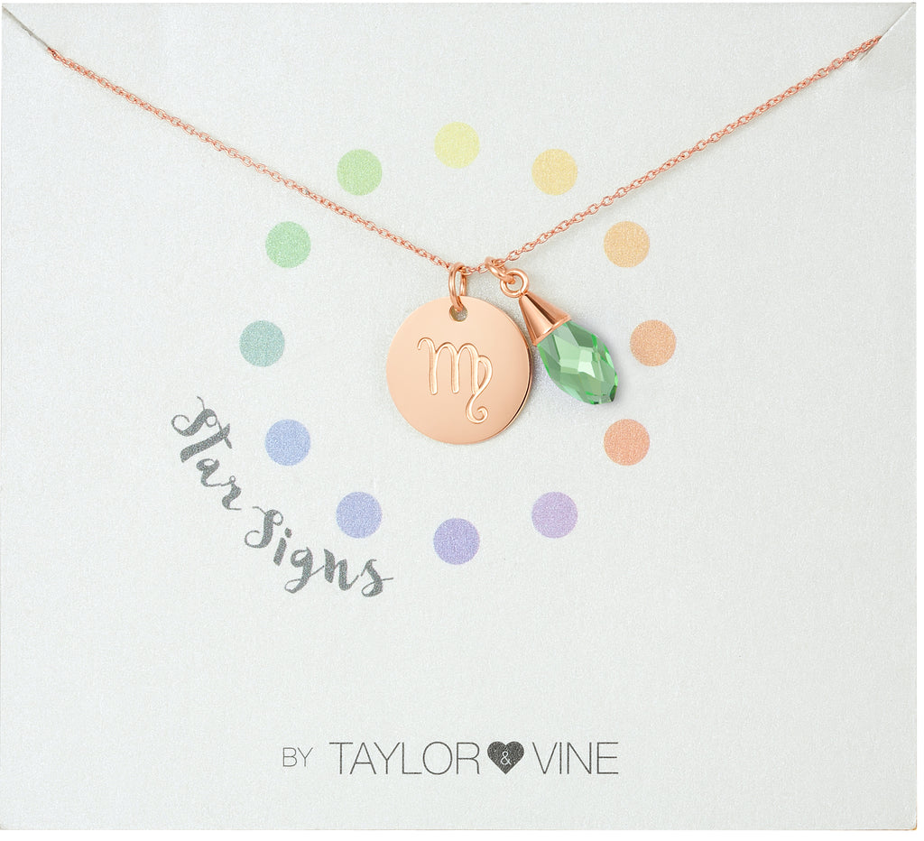 Taylor and Vine Star Signs Virgo Rose Gold Necklace with Birth Stone