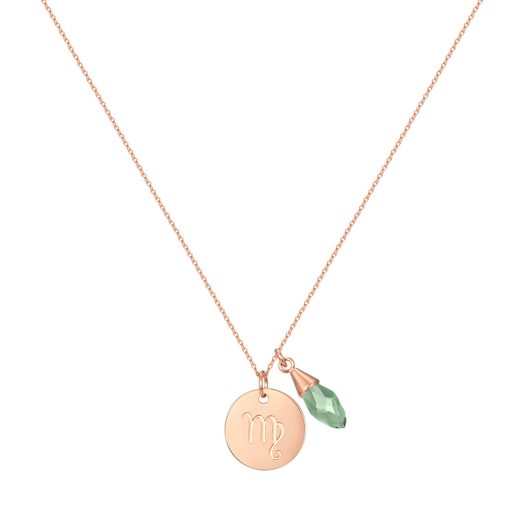 Taylor and Vine Star Signs Virgo Rose Gold Necklace with Birth Stone 1