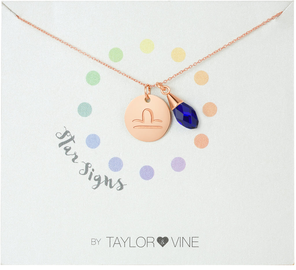Taylor and Vine Star Signs Libra Rose Gold Necklace with Birth Stone