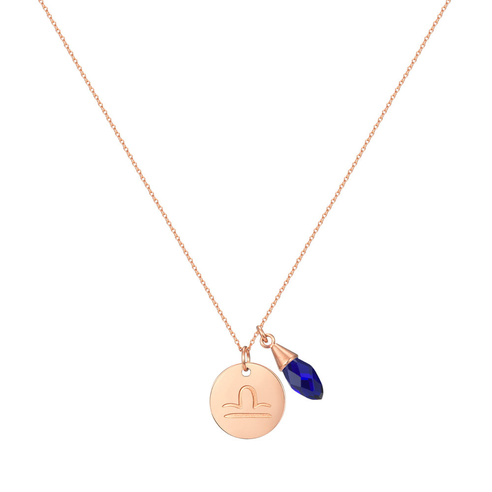 Taylor and Vine Star Signs Libra Rose Gold Necklace with Birth Stone 1