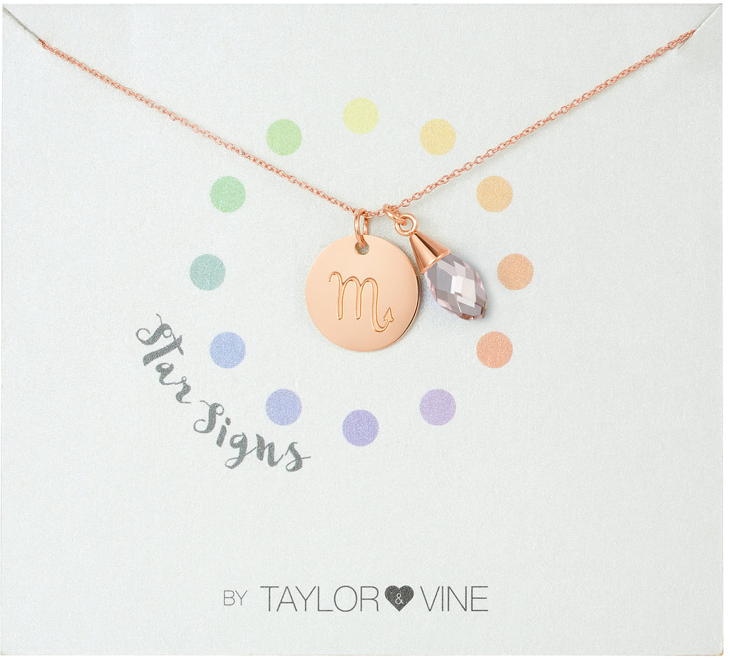 Taylor and Vine Star Signs Scorpio Rose Gold Necklace with Birth Stone
