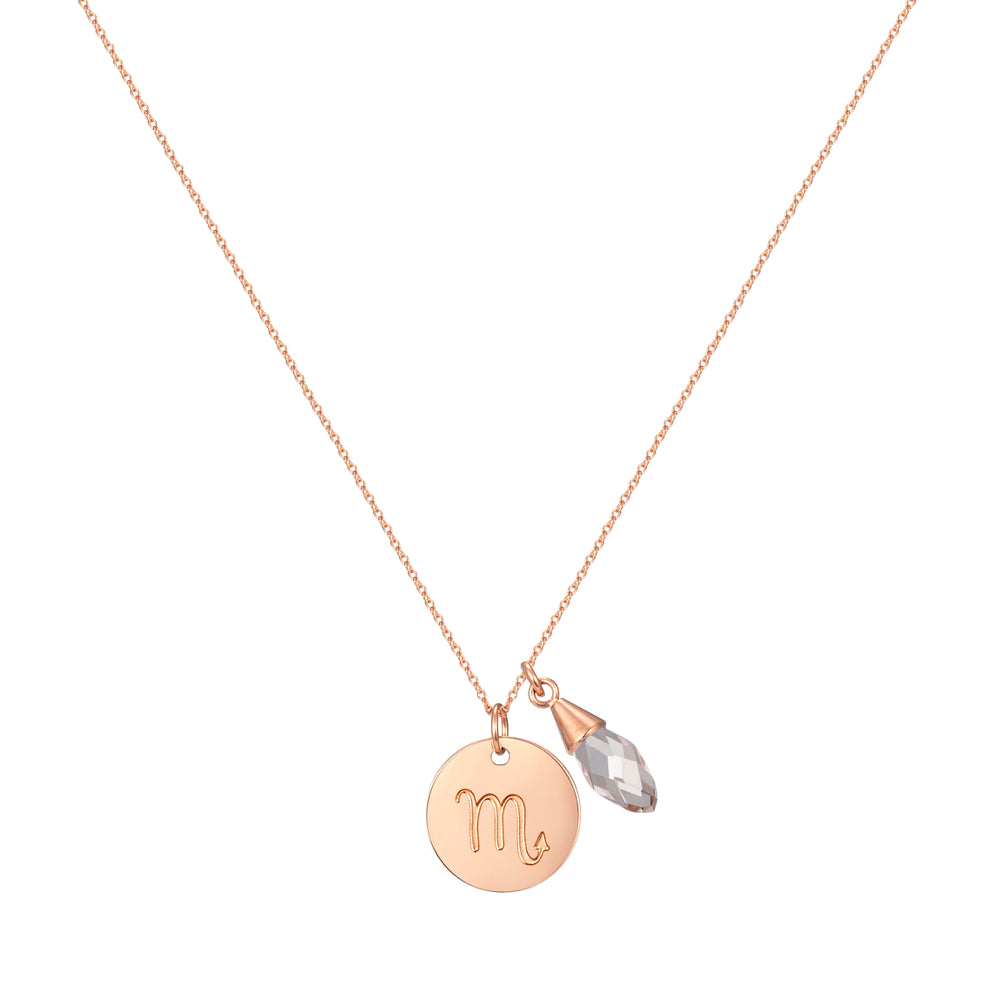 Taylor and Vine Star Signs Scorpio Rose Gold Necklace with Birth Stone 1