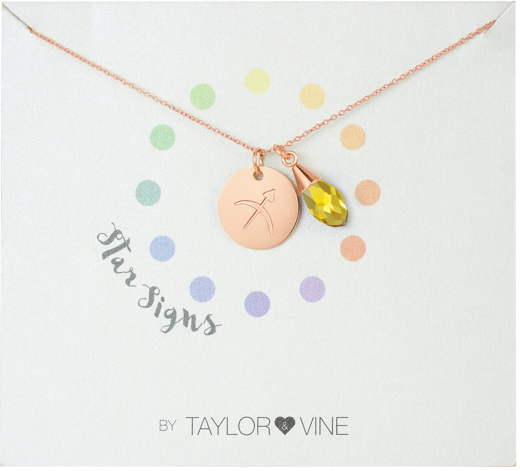 Taylor and Vine Star Signs Sagittarius Rose Gold Necklace with Birth Stone